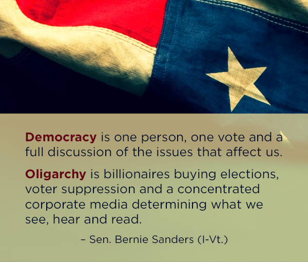 oligarchy or democracy United states of america is a republic, therefore, not a democracy founding fathers did not want a democracy despite the.